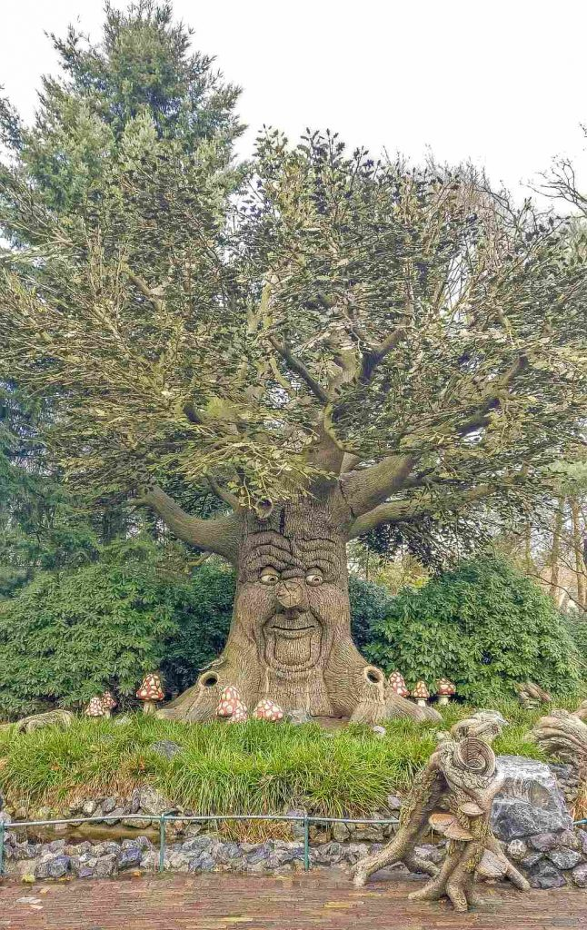 a tree-like attraction with a face on the trunk that can talk and move its branches at the Efteleng theme park