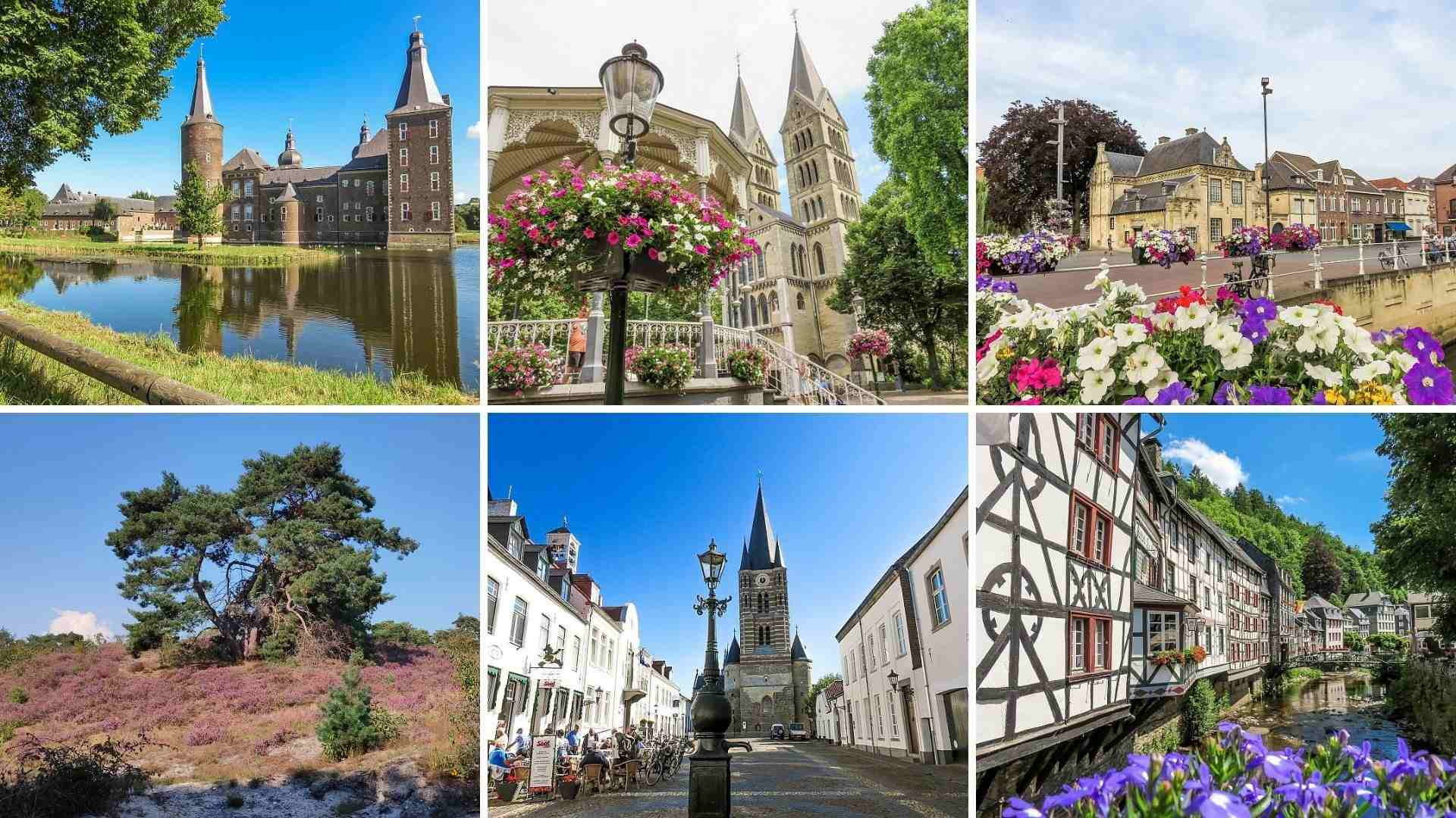 six pictures of places that can be visited on a day trip from Maastricht, the Netherlands