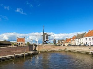 a tiny haven in a small town with a windmill, Heusden in the Netherlands