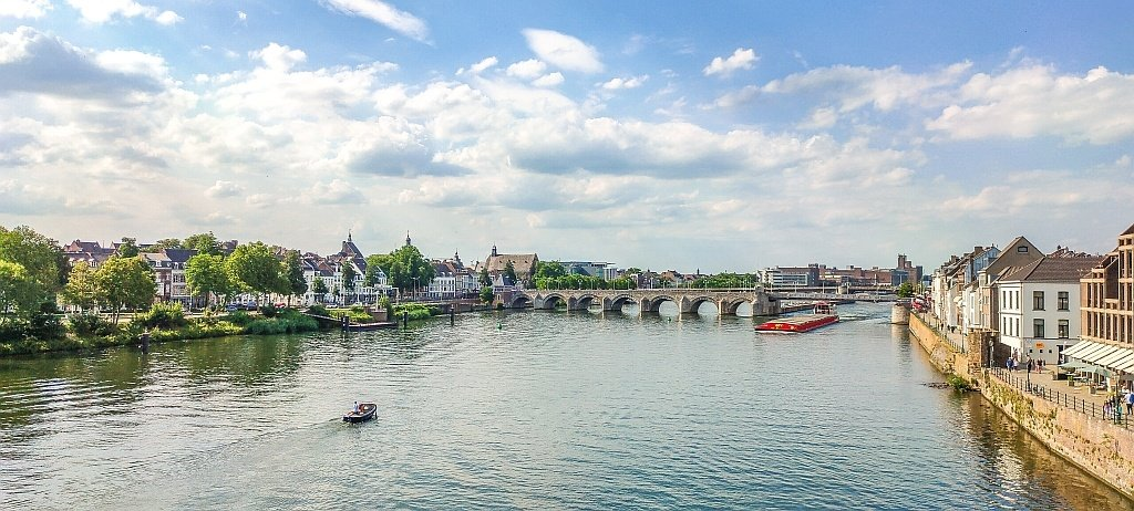 a beautiful view of the skyline of Maastricht from a bridge