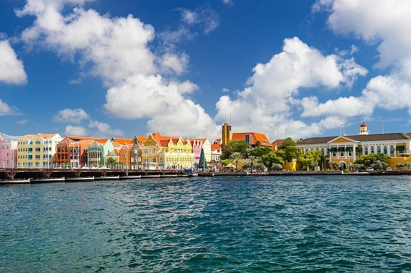 a colorful city at the waterfront and blue sky with white clouds, Willemstad on Curacao