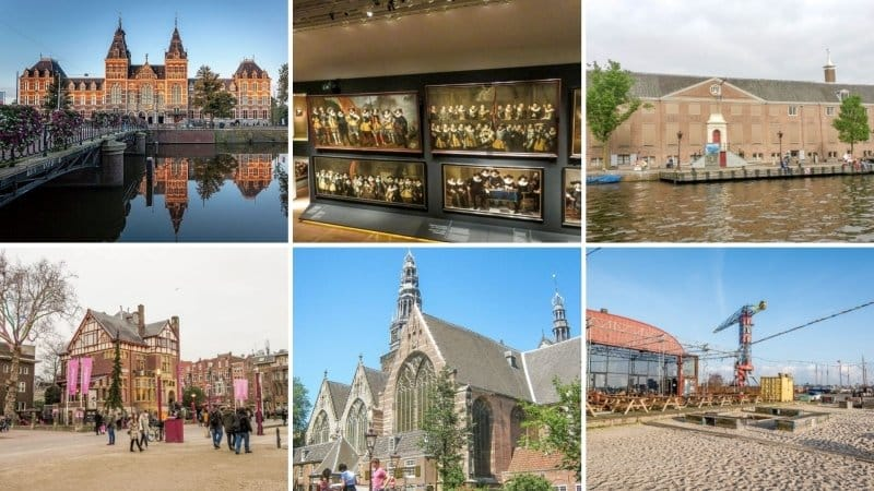 six pictures of art museums in Amsterdam, the Netherlands